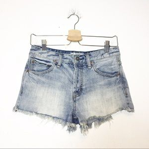 Free People Blue Cutoff Jean Shorts